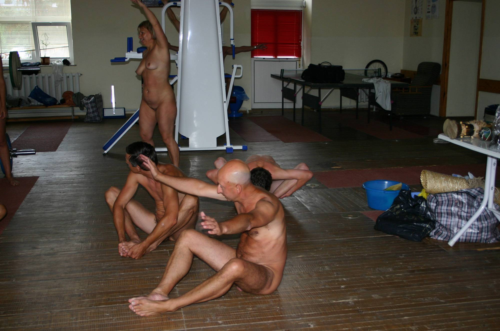 Nudist Pictures Family Gym Nudist Stretch - 1