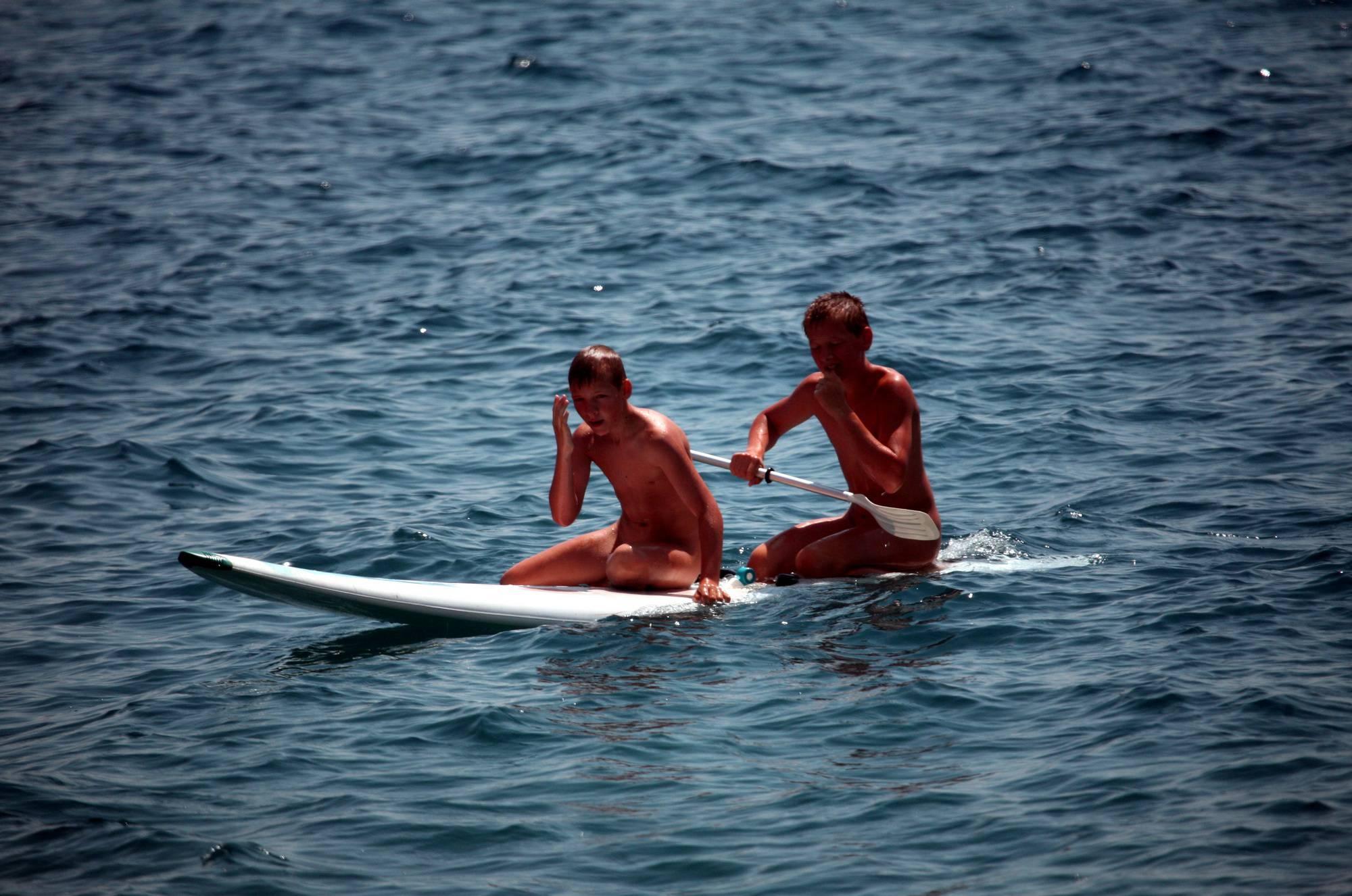 Boys Nudist Water Surfing - 1